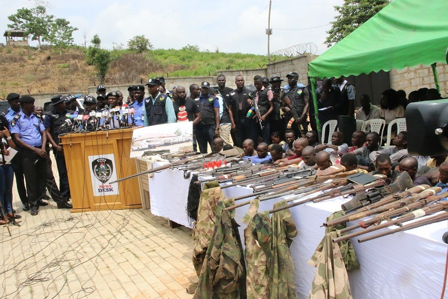 Police recovers 30 firearms, 77 live Ammunition, 160 rustled cattle, 1972 bags of grains and 208 bags of beans from?32?kidnap suspects (Photos)