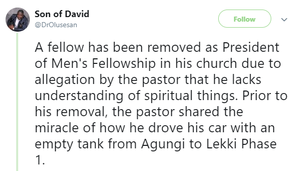 Twitter stories: Nigerian man removed from key position in church after he pointed out the lie in his Pastor