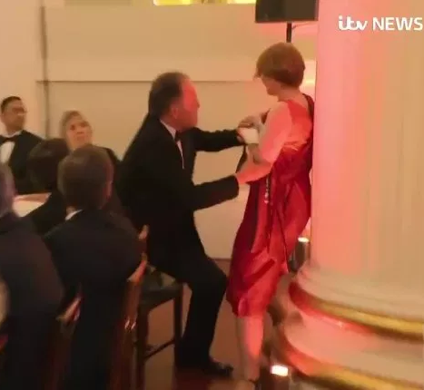 UK Foreign Office minister Mark Field faces backlash after footage emerged showing him grabbing?climate change protester and forcing her out of venue (video)