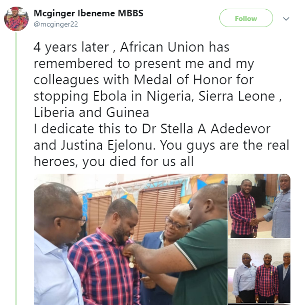 Being African is shitty- Nigerian doctor who helped fight Ebola says he is sad none of his team including Stella Adadevoh have been adequately recognized