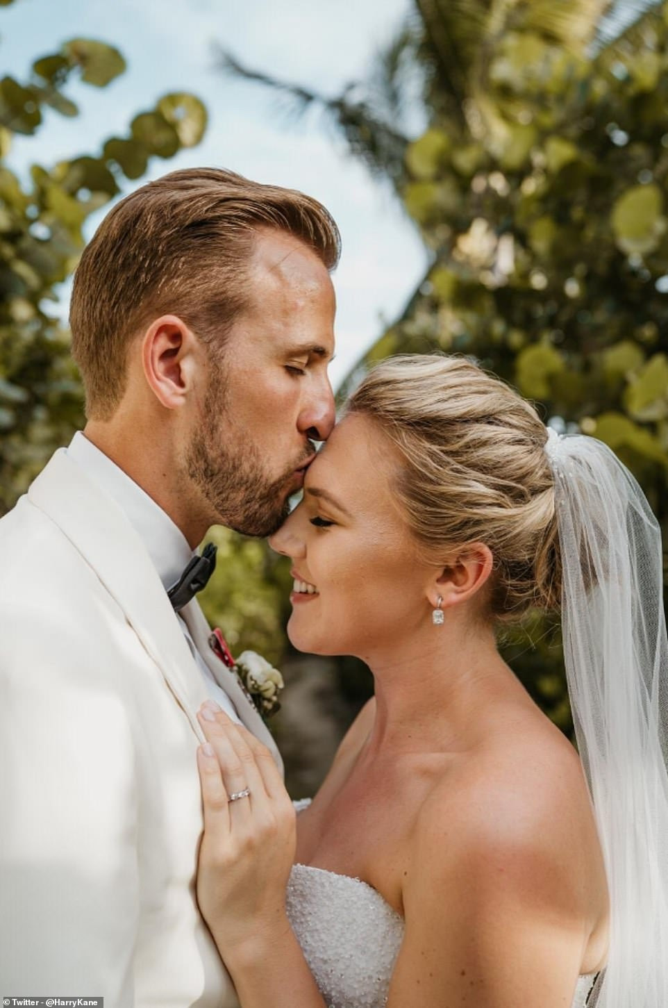England captain Harry Kane weds childhood sweetheart Katie Goodland in secret ceremony at exotic resort (Photos)
