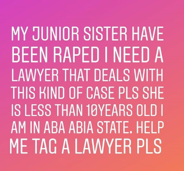 Nigerian man seeks justice for his 10 year old sister repeatedly raped by a neighbor in Abia