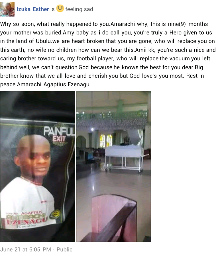 Photos: Young Nigerian man slumps, dies while playing football 9 months after his mother