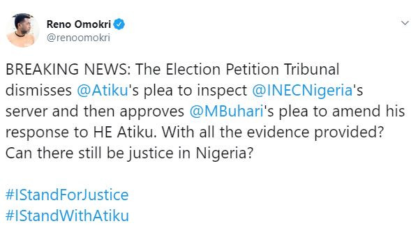 Can there still be justice in Nigeria? - Reno Omokri asks after tribunal dismissed Atiku