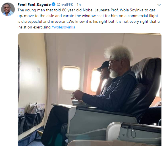 The young man that told 80 year old Wole Soyinka to stand up from his seat is disrespectful and irreverent- FFK