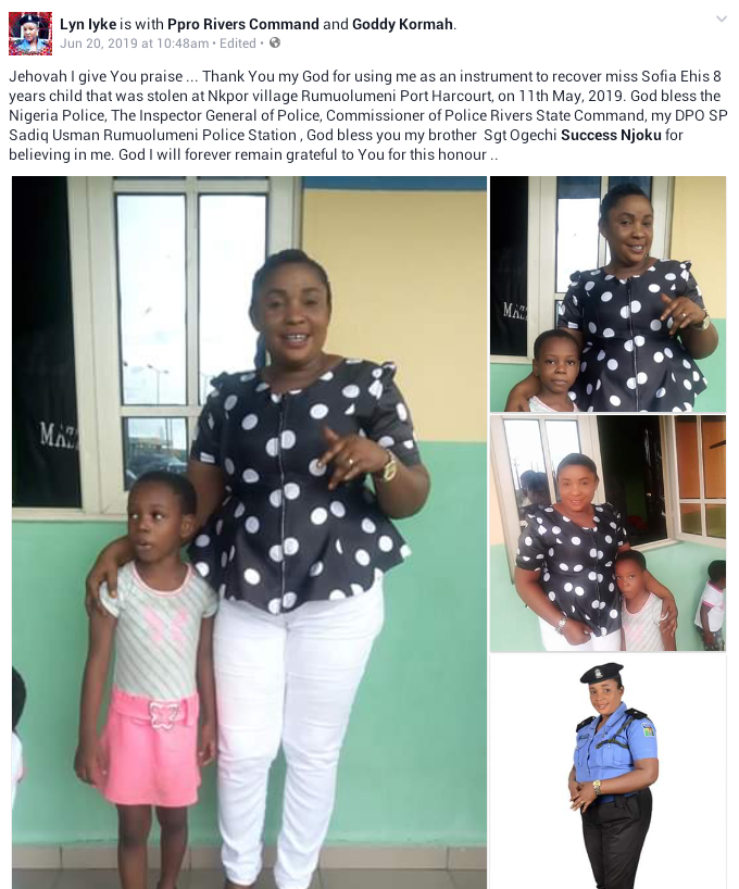 Photos: Police rescue 8-year-old girl kidnapped in Rivers State