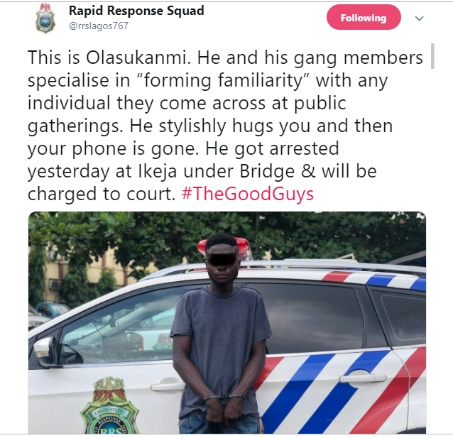 RRS arrest man who specializes in hugging his victims before stealing their phones in Lagos (Photo)