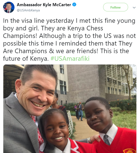 US Ambassador to Kenya criticized online after posting photo of two students shortly after they were denied visa