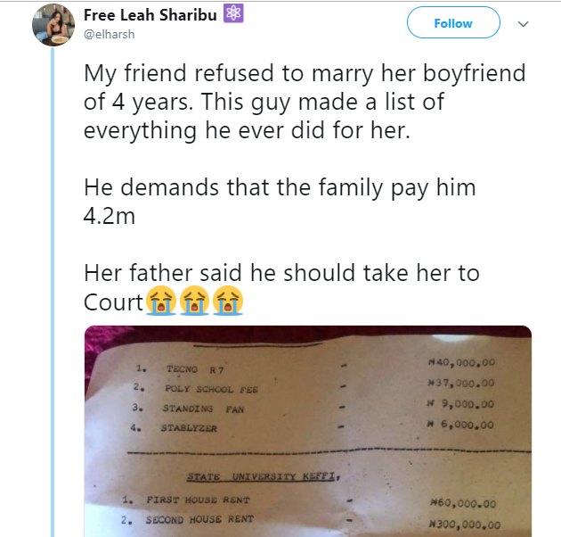 Nigerian man whose girlfriend of ?4-years refused to marry him reportedly demands she pay him back all he spent on her (See list)