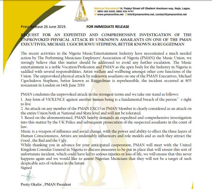 PMAN writes to Nigerian High Commission demanding investigation into Ruggedman