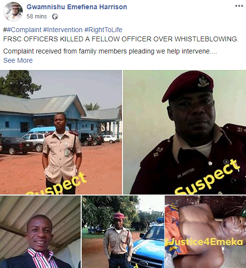 FRSC officers allegedly kill colleague for whistleblowing (photos)
