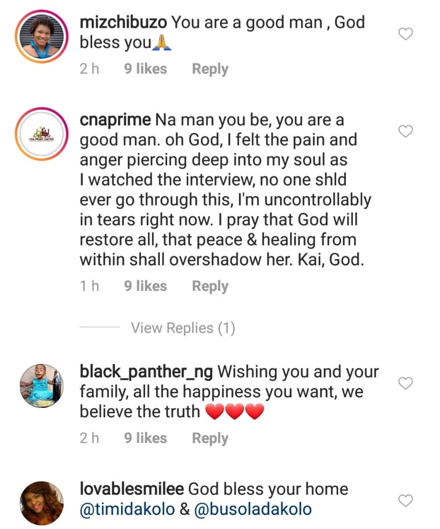 Banky W, Toyin Abraham, others praise Timi Dakolo for standing by his wife, Busola, as she reveals how Pastor Biodun Fatoyinbo allegedly raped her at 17