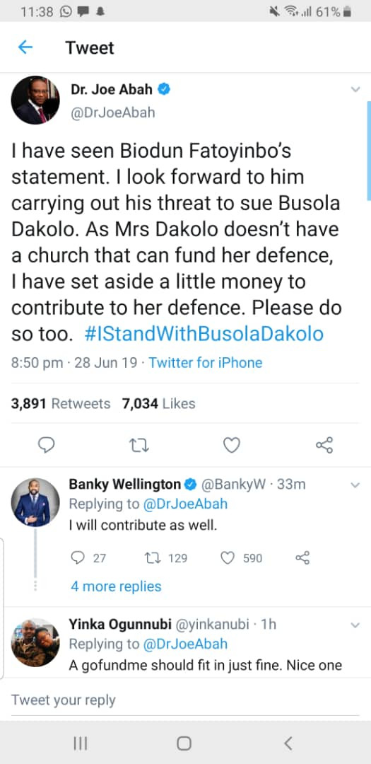 Dr Joe Abah, Banky W, others dare Pastor Fatoyinbo to sue Busola Dakolo as they promise to contribute to her defence fee