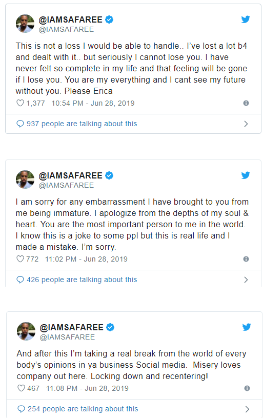 ?I Can?t Lose You?- Safaree Samuels apologizes to Erica Mena on Twitter after cheating rumors surface