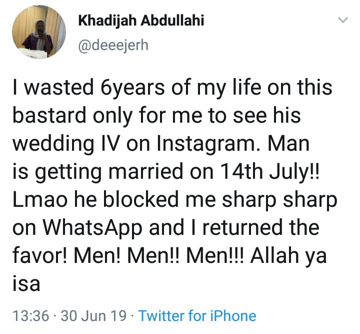 """I wasted 6 years on this bastard only for me to see his wedding IV on IG"" - Jilted woman cries out"