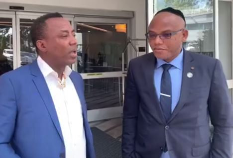Breaking: Nnamdi Kanu and 2019 Presidential aspirant, Omoyele?Sowore meet in New York, vow to end oppression in Nigeria (Photo)