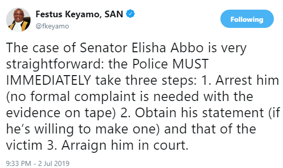 The police must immediately arrest Senator Elisha Abbo and arraign him in court- Festus Keyamo