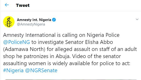 Amnesty International calls?on Nigerian Police to investigate Senator Elisha Abbo for physically assaulting lady in a sex shop