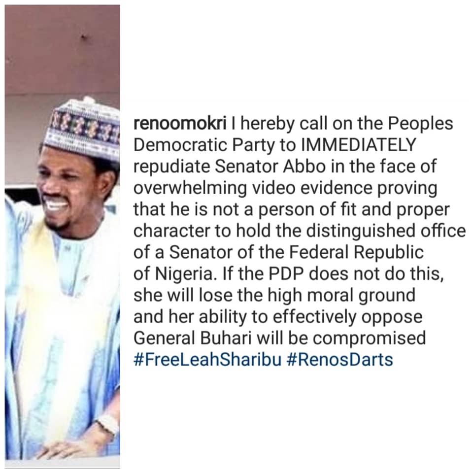 Disown Senator Elisha Abbo now- Reno Omokri tells PDP