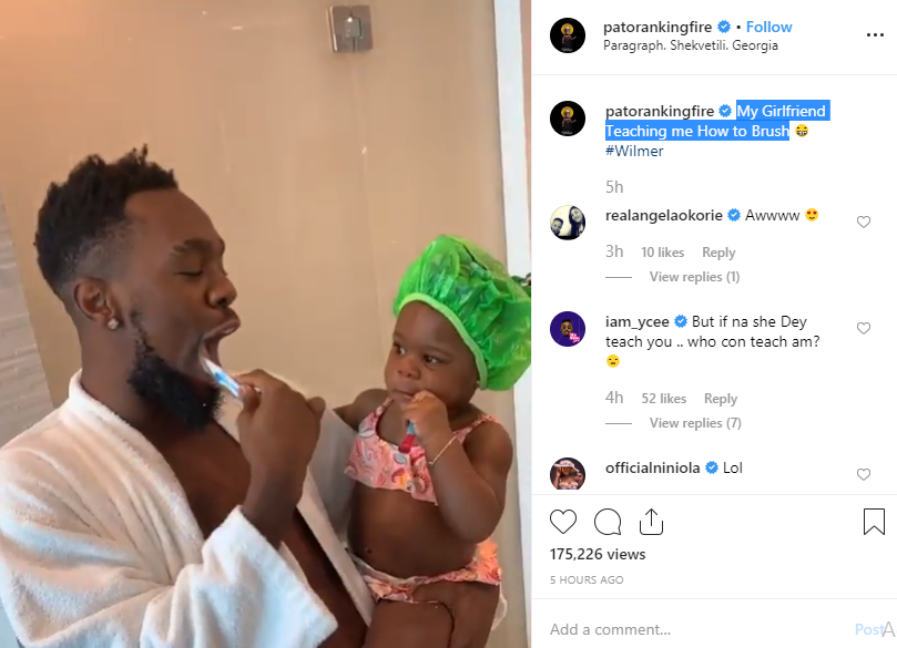 Beautiful video of Patoranking and his daughter brushing together??