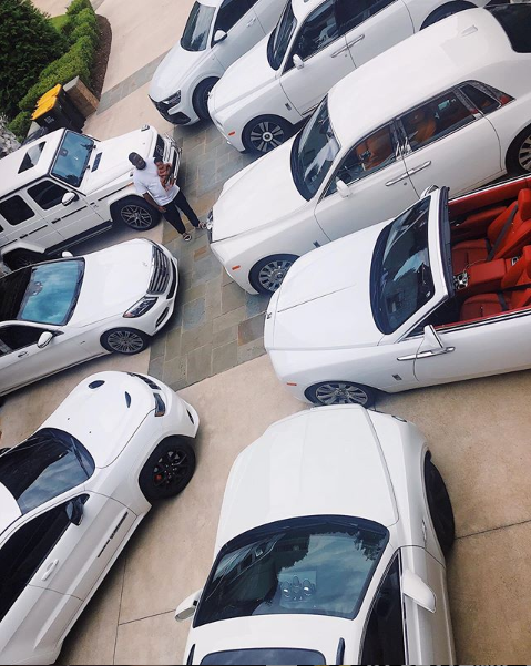 Quality Control CEO Pee Thomas shows off his garage of exotic white cars (Photo)