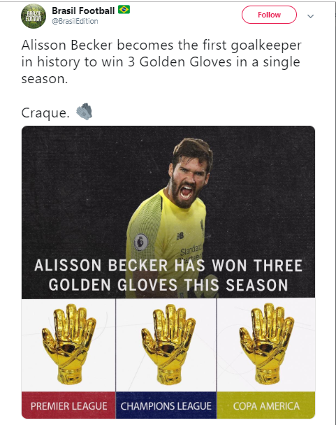Liverpool star, Alisson Becker becomes the first goalkeeper in history to win ?3 Golden Gloves in a single season