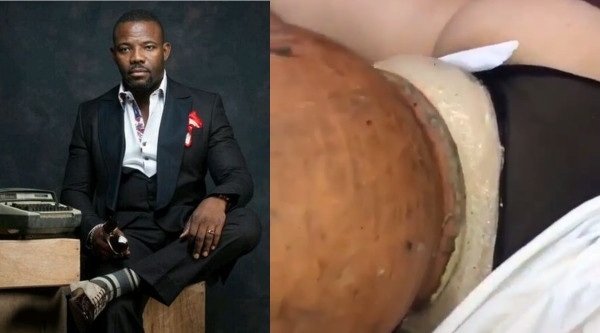 Okey Bakassi reacts to video of lady undergoing a*s enlargement procedure with a clay pot