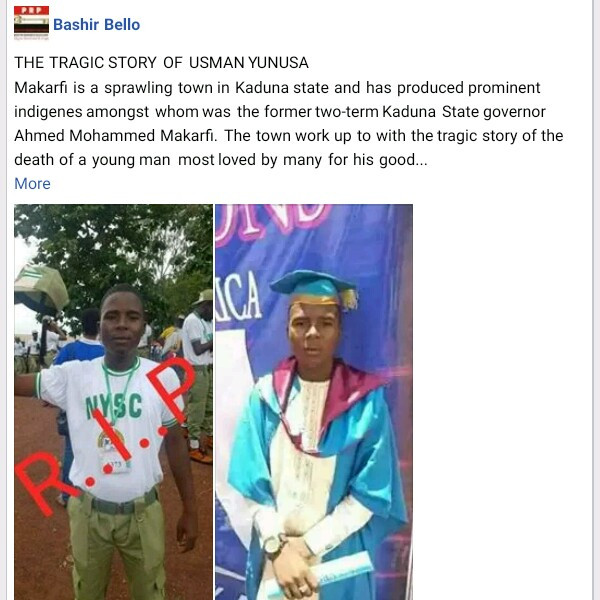 Photos: Orphaned Corps member who sponsored himself through university shot dead by armed robbers along Abuja-Kaduna highway