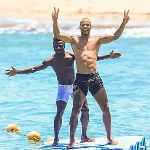Super Eagles stars show off their abs at the beach as they unwind ahead of AFCON clash with South Africa (Photos)