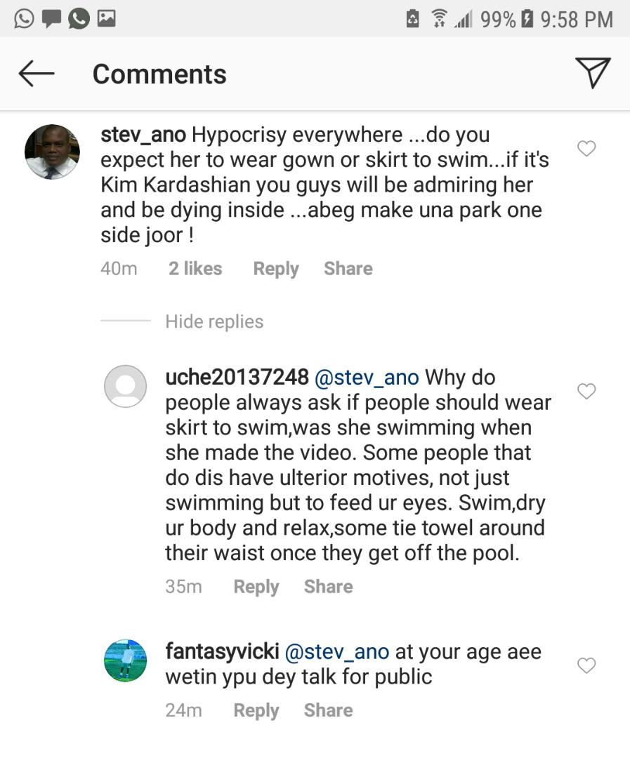 Actress, Angela Okorie claps back at IG users including an elderly woman who came for her for wearing a revealing swimsuit to the pool (Video)