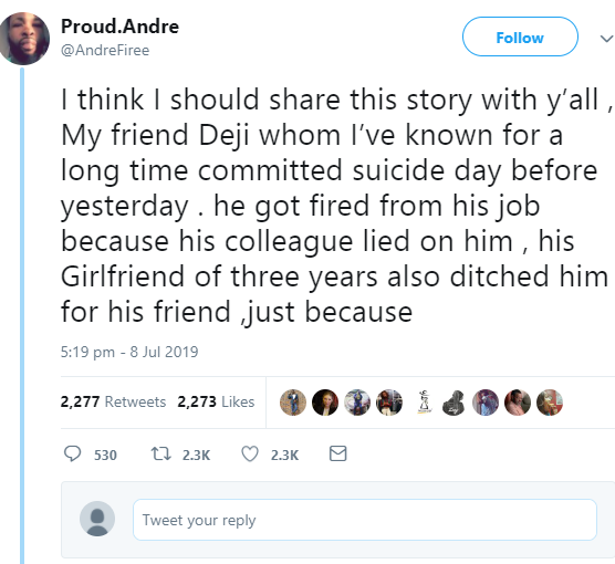 Twitter stories: Man commits suicide after being fired from his job because a colleague lied against him