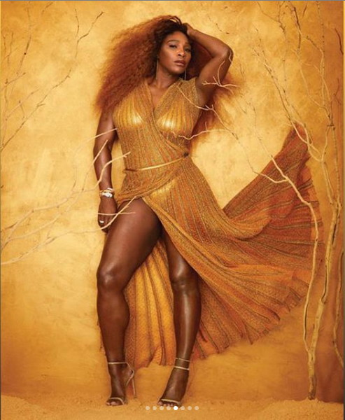 Serena Williams goes semi-naked as she poses for gold-themed shoot for Harper