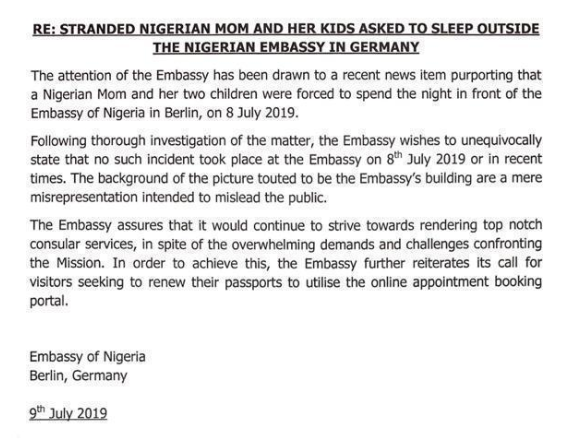Nigerian Embassy in Germany denies asking stranded Nigerian woman and her two kids to sleep outside their office