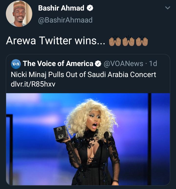 Bashir Ahmad says Nicki Minaj withdrawing from Saudi Arabia concert is a win for Arewa Twitter
