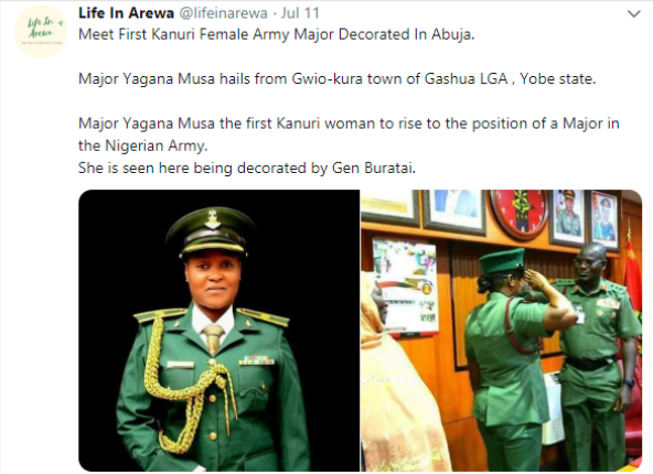 Yagana Musa becomes first Kanuri woman to become a Major in the Nigerian army