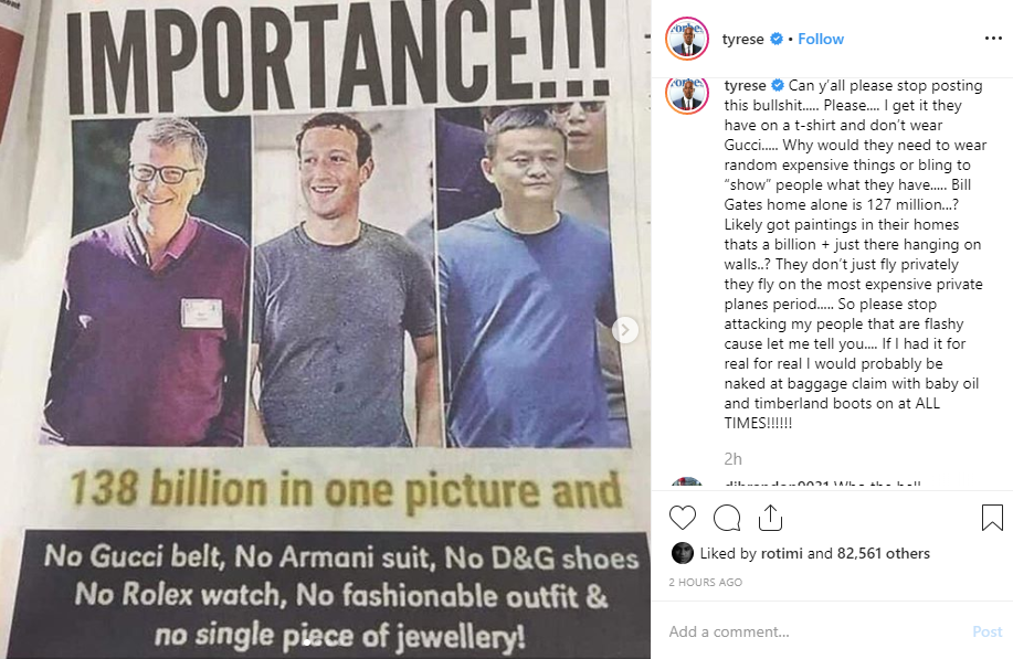 Tyrese slams those sharing photos of non-flashy billionaires