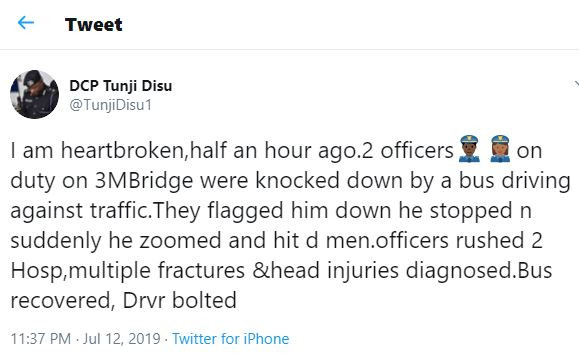 Two police officers suffer?multiple fractures and head injuries after getting knocked down by a bus driver driving against traffic on third mainland bridge