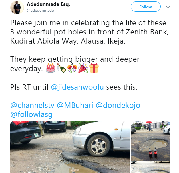 Nigerian lawyer celebrates potholes that keeps expanding, with soda