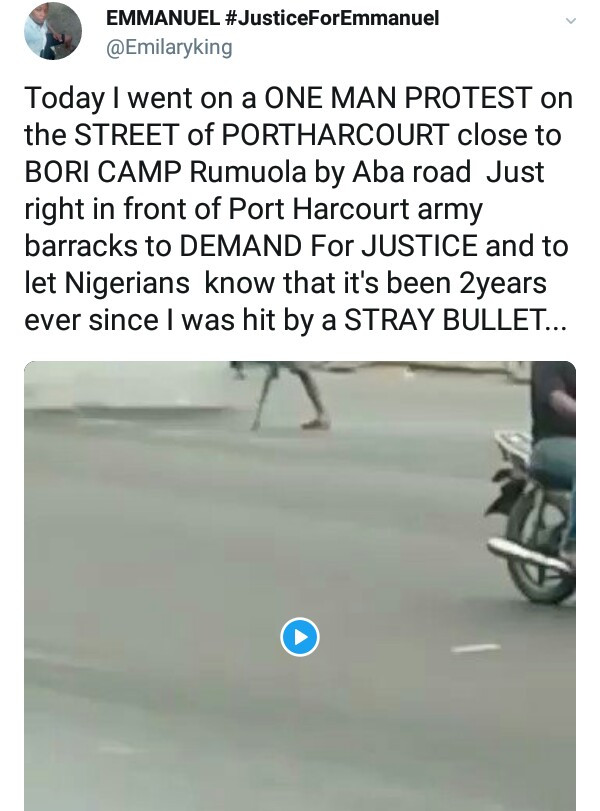 Graphic Photos: Young man who lost his limb after he was accidentally shot by a soldier, protests outside Army Barracks in Port Harcourt