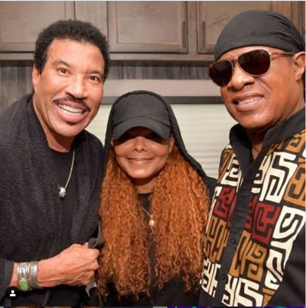 Legends! Janet Jackson pictured with Stevie Wonder and Lionel Richie in new photo