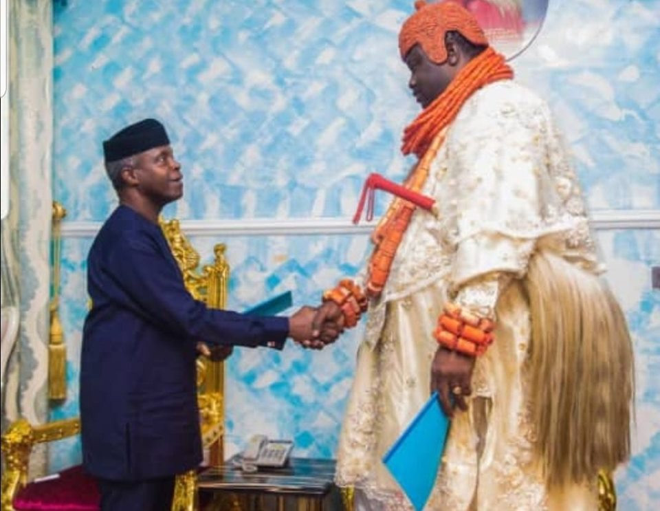 Caption this photo of Vice President Yemi Osibanjo with King Timiyan of Ogulagha Kingdom