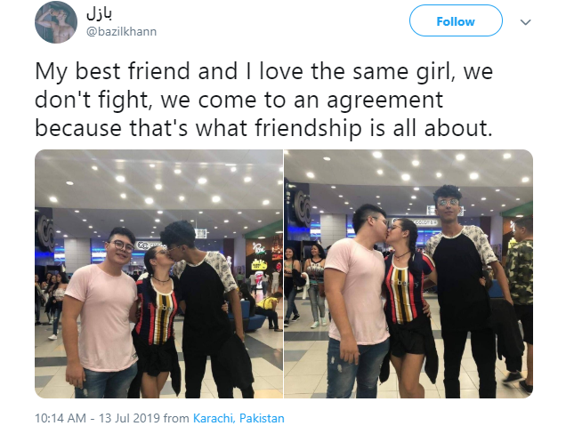 Male Pakistani best friends pose with their mutual girlfriend