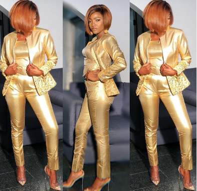 Singer Simi shimmers in gold
