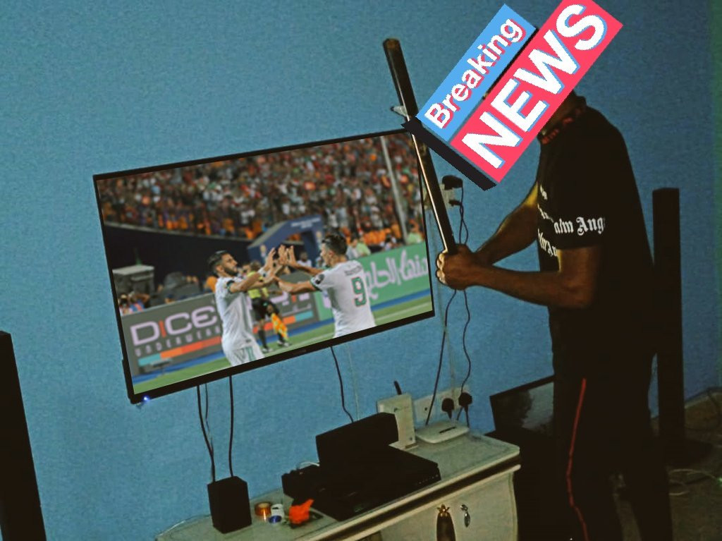 AFCON: Nigerian man destroys his TV after Nigeria lost to Algeria