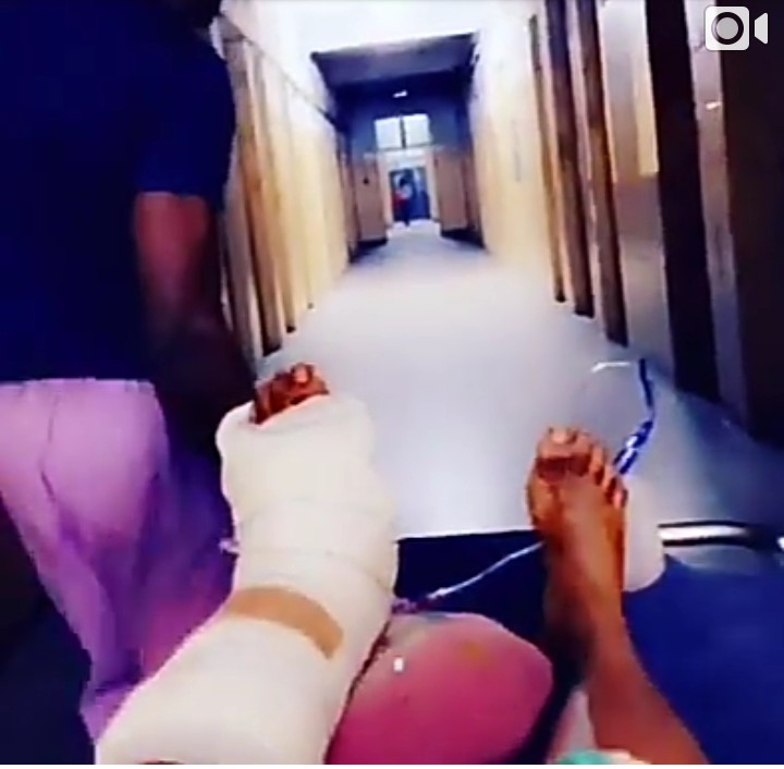 Cossy Ojiakor undergoes surgery to have metal placed in her foot after suffering a fall