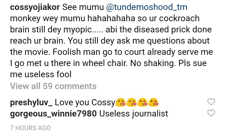 """See mumu"" Cossy Ojiakor dares journalist Tunde Moshood to go to court"