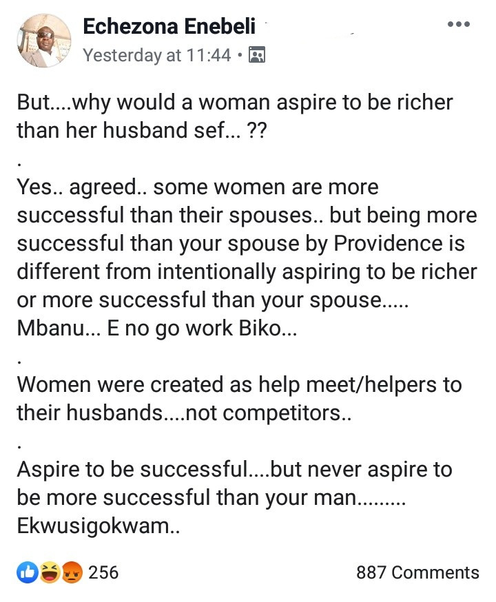 """""""Never aspire to be more successful than your husband"""" Igbo man advices women"""