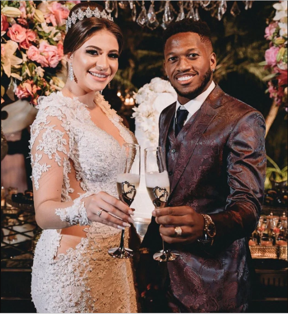 Man Utd midfielder Fred marries his beautiful partner Monique Salum in a private ceremony in Brazil (Photos)