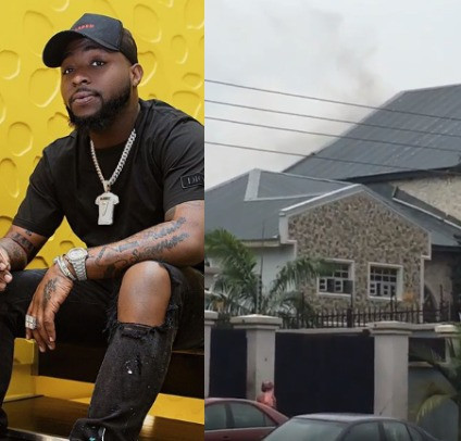 Image result for Parts of Davido's father's house gutted by fire today (video)