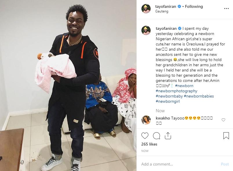Tayo Faniran welcomes third child with his girlfriend
